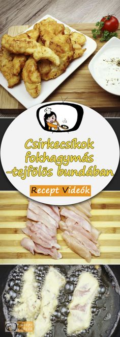 Chicken strips in garlic-sour cream batter recipe with video. Detailed steps on how to prepare this easy and simple recipe! How To Cook Squash, How To Cook Kale, Cooking Panda, Cooking Turkey, Cooking Kale, Chicken Strip Recipes, Chicken Strips, Meat Recipes, Healthy Recipes