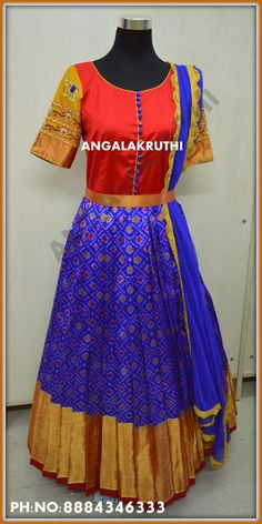 #Ikkat silk long gown with hand embroidery designs by Angalakruthi boutique Bangalore Watsapp:8884347333 #pure pattu dress designs #ikkat resham anarkali custom designs in bangalore