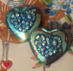 Iridescent blue glass heart buttons Like Buttons? come join our Facebook Button Page Button Button Who's Got The Button https://www.facebook.com/groups/whosgotbuttons/