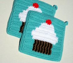MADE TO ORDER White Cupcake With Cherry on Top Potholders, Light Aqua Potholders, Kitchen Cupcake Decor, Crochet Pot Holders, Set of Two by HoookedHandmade on Etsy https://www.etsy.com/listing/103146931/made-to-order-white-cupcake-with-cherry