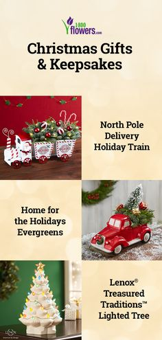 Make the holidays even more memorable with our collection of Christmas gifts! From wreaths, candles and keepsakes, we have something everyone on your wish list will enjoy. Personalized Christmas Gifts, Unique Christmas Gifts, Holiday Decor, Christmas Flowers, White Christmas, Christmas Tree, Flower Centerpieces, Flower Arrangements, Holiday Train