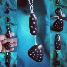 Silver Diamonds, Diamond Studs, Round Diamonds, Pebble Stone, Stone Art, Stone Necklace, Pendant Necklace, Beach Stones, Statement Jewelry
