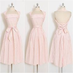 1940s convertible halter dress from noteworthy American designer Claire McCardell. Ticking stripe cotton.