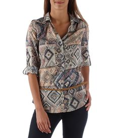 Add some colour to your wardrobe with this aztec print longline shirt  featuring a contrasting braided skinny belt and button tab closure on long  sleeves. 530c47a49d8