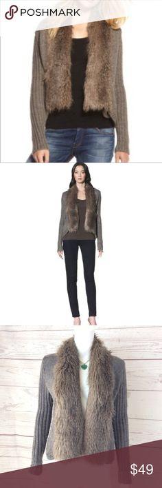 55f17012963 Anthropologie Ella Moss gorgeous fur trim cardigan Excellent condition no  flaws so pretty Anthro soft faux