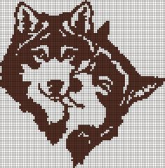 Ideas For Knitting Charts Dog Wolves Bead Loom Patterns, Beading Patterns, Embroidery Patterns, Pixel Art Lapin, Cross Stitch Charts, Cross Stitch Patterns, Cross Stitching, Cross Stitch Embroidery, Motifs Animal