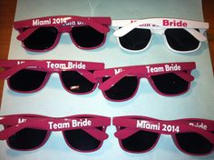 If you're going somewhere sunny, these personalized shades for just $6.95 go a long way. | 21 Easy Ways To Make A Bachelorette Party Memorable