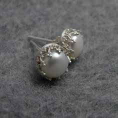 White Lady - silver earrings with white pearl $45