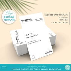 DIY Editable Minimal Business Card Template 2 Sizes | Etsy Minimal Business Card, Modern Business Cards, Business Card Design, Soap Labels, Candle Labels, Printable Business Cards, Label Templates, Custom Fonts, Tag Design