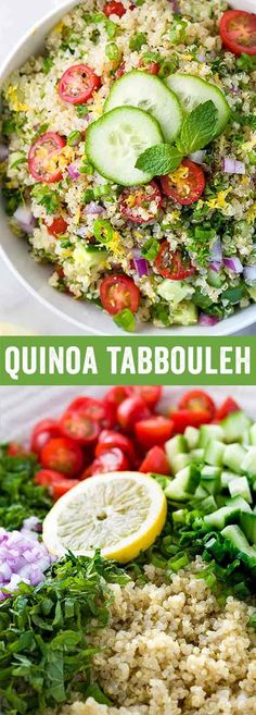 Quinoa tabbouleh is a low-calorieMiddle Easternside dish packed with plant protein, fresh vegetables, and herbs in each serving. This healthy salad is drizzled with a simple homemade lemon garlic dressing. via @foodiegavin