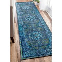 nuLOOM Traditional Vintage Inspired Overdyed Fancy Blue Runner Rug (2'6 x 8') | Overstock.com Shopping - The Best Deals on Runner Rugs