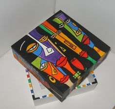 Block Painting, Painting On Wood, Painted Boxes, Wooden Boxes, Cubist Art, Posca Art, Little Boxes, Online Art, Diy Gifts