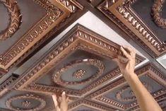 Faux tin and copper! Decorative drop-ceiling tiles.