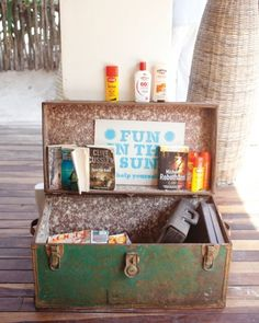 Make guests feel welcome with a trunk set out full of lounging essentials, like paperback novels, sunscreen, and inflatable floats