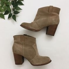 Anthropologie Shoes | Splendid Lakota Tan Suede Heeled Booties | Poshmark Suede Heels, Suede Boots, Shoes Heels Boots, Heeled Boots, Anthropologie Shoes, Blossoms, Stripes, Booty, Outfit
