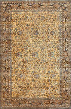 Buy online, view images and see past prices for Beautiful Large Antique Persian Kerman Rug. Invaluable is the world's largest marketplace for art, antiques, and collectibles. Beige Carpet, Patterned Carpet, Modern Carpet, Persian Carpet, Persian Rug, Iranian Rugs, Iranian Art, Carpet Trends, Carpet Ideas
