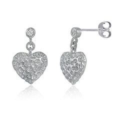 Sterling Silver Hammered Heart Dangle Post Earrings from Berricle - Price: $27.99