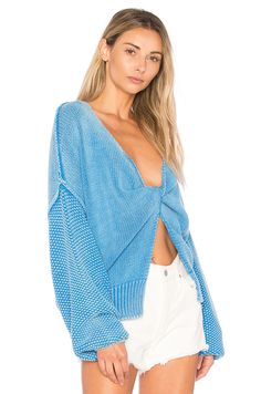 Wildfox Couture Solid Sweater in Portrait Blue | REVOLVE