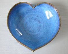 blue heart dish  3 3/4 inches  great gift for by JDWolfePottery, $10.00