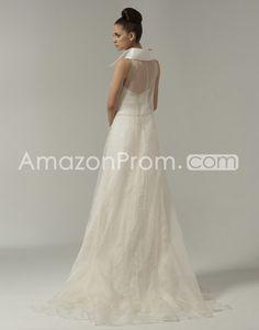 US $231.89 Brilliant A-line Collar Pockets Floor-Length Court Train Lace Wedding Dresses