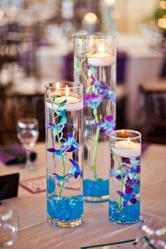 Centre de table bleu auqua mariage thème bleu aqua