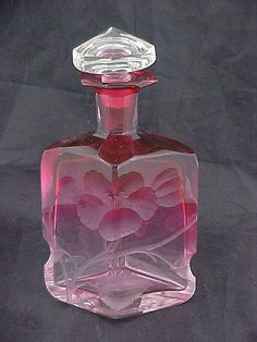 C1900 Moser Perfume Bottle Cranberry to Clear Intaglio Cut Poppies | eBay
