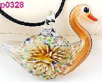 FREE SHIPPING! Awesome Murano Art Glass Lampwork Swan Shaped Floral Pendant #328