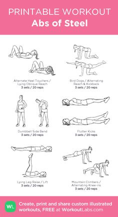Abs of Steel: my visual workout created at WorkoutLabs.com • Click through to customize and download as a FREE PDF! #customworkout