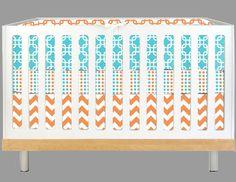 But with not so many patterns!    Modern Baby Aqua and Orange Geo (Modern Custom Crib Set). $315.00, via Etsy.