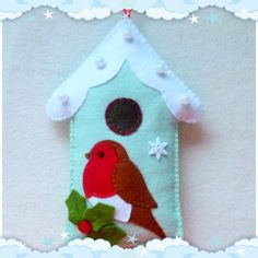 Felt Robin and Bird House PDF Sewing Pattern and by SewJuneJones