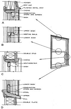 vintage window drawing. double-hung window construction | old house web vintage drawing