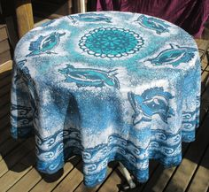Dolphins Surfing the Waves handmade Batik tablecloth round on Polyester by goldphinbatik on Etsy Mandala Pattern, Sell On Etsy, Dark Colors, Hand Coloring, Shades Of Blue, Fabric Patterns, Dolphins, Surfing, Waves