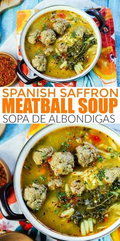 Spanish Saffron Albondigas Soup (Meatball Soup) This super flavorful Spanish saffron meatball soup recipe is a must make fall soup recipe the whole family will enjoy! Fall Soup Recipes, Chili Recipes, Thanksgiving Recipes, Healthy Recipes, Recipes Dinner, Healthy Meals, Keto Recipes, Cooking Recipes, Dr Martens Chelsea