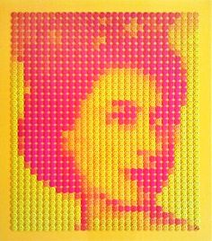 Acid Queen   86 x 99 cm  Unique Edition of 5  QEII 1952 Portrait made from 1,050 2.5cm button badges  This really has to be seen in the flesh to be believed!