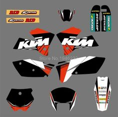 0073 Black&White NEW TEAM  GRAPHICS WITH MATCHING BACKGROUNDS FIT FOR KTM SX 125/250/380 /400/520 2005-2006 #Affiliate