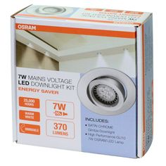 Osram 240v 7W GU10 LED Warm White Chrome Gimble Downlight