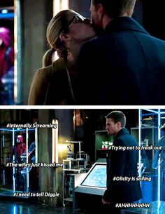 What Ollie was really thinking when Felicity kissed his cheek. #Olicity sails!