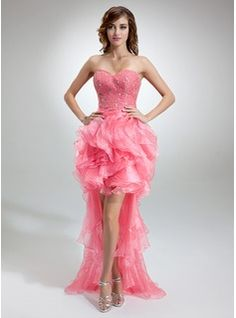 $190.99 - A-Line/Princess Sweetheart Asymmetrical Organza Charmeuse Prom Dress With Beading Cascading Ruffles  http://www.dressfirst.com
