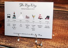 Include it with the welcome packet and business card sized = perfect for the guests to keep handy on the day.