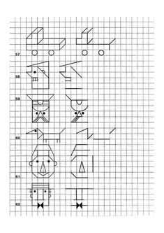 Enseña a tu Hijo a Dibujar antes que ha Escribir Graph Paper Drawings, Graph Paper Art, Therapy Activities, Kindergarten Activities, Preschool, Symmetry Worksheets, Tracing Sheets, Geometric Drawing, Blackwork Embroidery