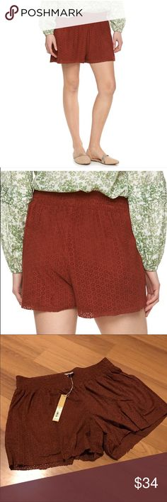 Lauren Conrad faux suede pull on short NWT. Lauren Conrad pull on shorts. Features a laser cut look and faux suede feel. Rust color. See last phot for full item details! Perfect color for fall! LC Lauren Conrad Shorts