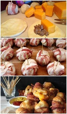 Bacon Cheeseburger Bombs ~ Bacon and cheese seem to be one of those combos when you just can't go wrong with.