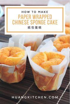 Paper Wrapped Chinese Sponge Cake - Something Sweet - Chinese Sponge Cake Recipe, Sponge Cake Recipes, Chinese Steam Cake Recipe, Chinese Cupcake Recipe, Chinese Pastries Recipe, Chinese Bread Recipe, Asian Desserts, Just Desserts, Starbucks Recipes