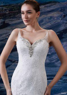 venus bridal fall 2015 venus collection ve8206 sleeveless lace beaded wedding dress sweetheart neckline illusion straps bodice close up