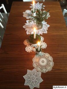 kaitaliina,pitsi,pitsiliinat,pitsiliina,kynttilät Tree Skirts, Winter Wonderland, Christmas Tree, Table Decorations, Holiday Decor, Home Decor, Ideas, Advent Calendar, Teal Christmas Tree