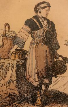 Karjala. Suomalainen nainen Pietarin lähellä 1768. Jean Baptiste Le Princen piirros. Sarafaani on ollut ortodoksinaisen asu Laatokan pohjoispuoleisessa Karjalassa. Ortodoksit olivat luterilaisia varakkaampia, ja heidän tapansa ja pukeutuminensa olivat samanlaisia kuin venäläisillä. Sarafaanin karjalainen välimuoto sussuna oli alkujaan hihallinen. Sussunan käyttö ulottuu kansanrunojen myytilliseen aikaan asti, sillä Kalevalassa on runoja, joissa neidot pukeutuvat sussunaan. Asu, Jean Baptiste, 18th Century, Prince, Clothes For Women, Clothing, Painting, Outerwear Women, Kleding