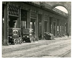 Anheuser Busch wagons on riverfront at base of the Eads Bridge. Circa 1900-1930.