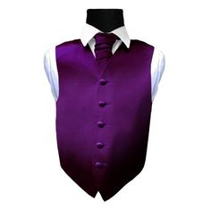 Boy's Plain Purple Satin Wedding Waistcoat & Cravat Set