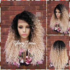 Lace Front Wig, Wigs, Curly Lace Front Wig, Glory Tress Wigs, Ombre Blonde Wig, Wig, Golden Platinum Blonde Wig, READY To SHIP // ZARIAH Curly Half Wig, Curly Lace Front Wigs, Curly Afro, Afro Wigs, Half Wigs, Curly Wigs, Blonde Wig, Blonde Ombre, Curly Hair Styles