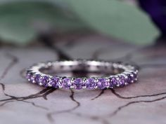 Natural Amethyst Wedding band,14k White Gold,Birthstone band,Anniversary ring,Promise ring,Full Eternity,Stackable,Pave Set,Gift for her